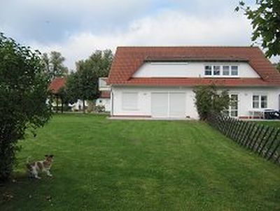 0230-03-Feha-Fuchs-Ruegen-Garten-mit-Hund