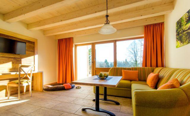 Waldblick Bungalow Wohnzimmer