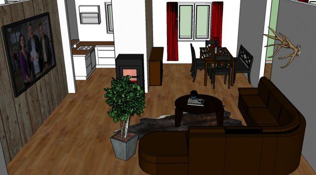 0867-10 Kleines Jagdhaus Skizze Wohnzimmer